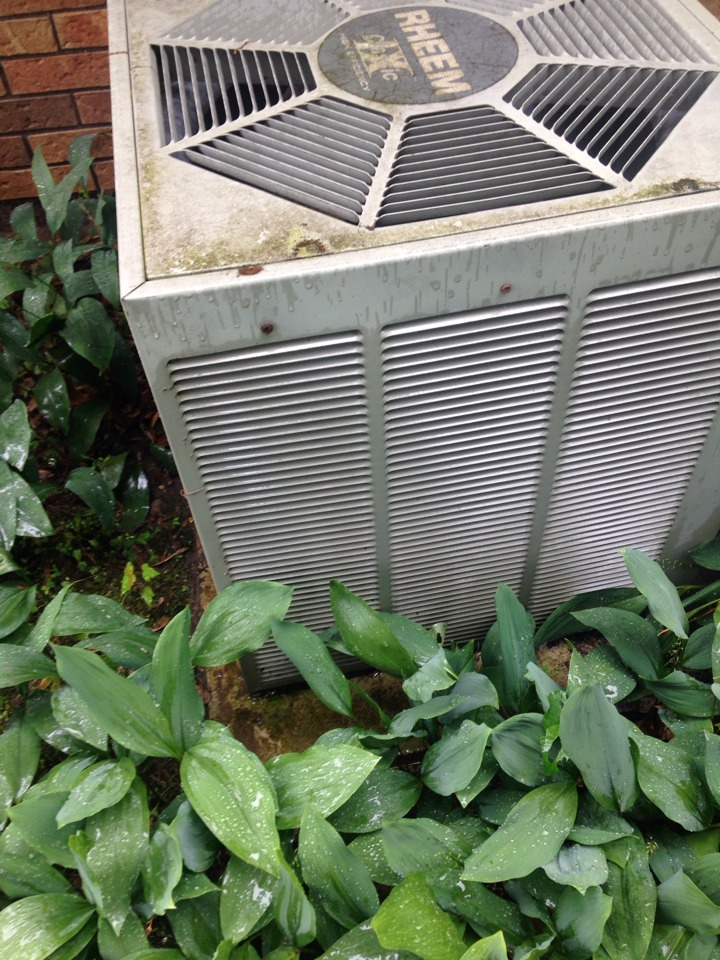 Scotts, MI - A/C tune up, perform annual service on Rheem air conditioner, checked Aprilaire air filter and humidifier pad