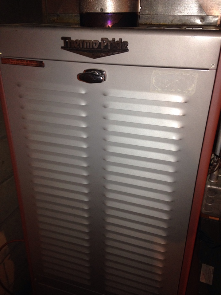 Kalamazoo, MI - Furnace tune up, perform maintenance service on Thermopride oil furnace, replaced nozzle and oil filter, replaced Aprilaire humidifier pad