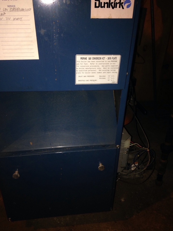 Kalamazoo, MI - Heating tune up, perform maintenance service on Dunkirk gas boiler