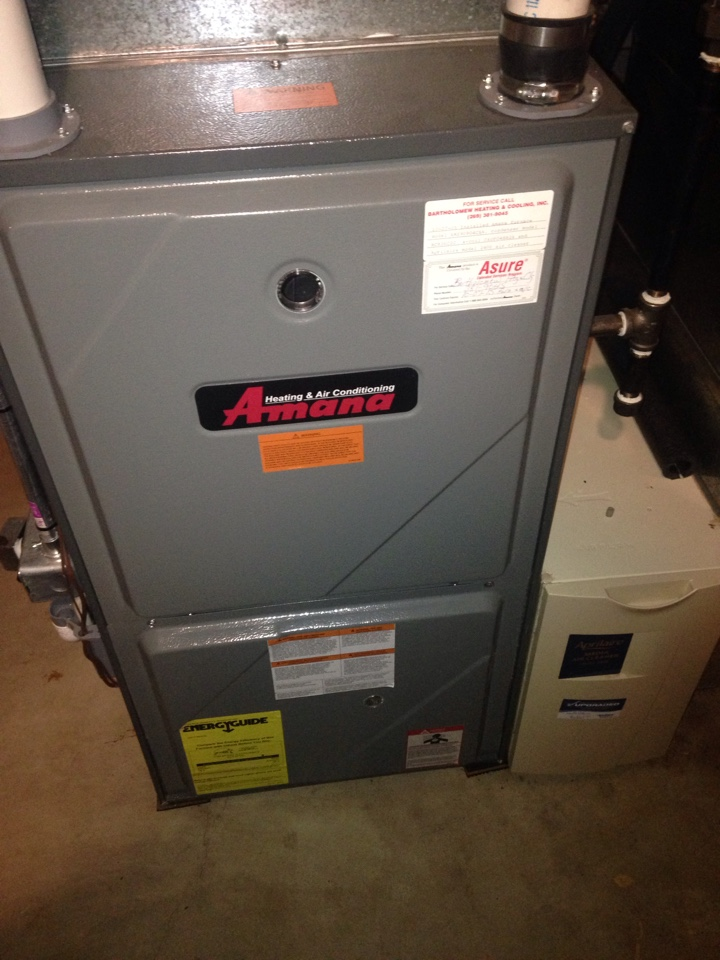 Furnace tune up, perform maintenance service on Amana gas furnace, check Aprilaire air cleaner and humidifier, perform maintenance service on A.O Smith water heater