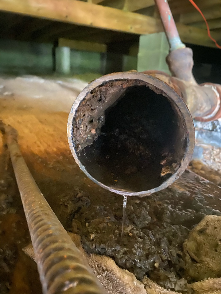 Mechanicsville, MD - Cleared main sewer stoppage in crawlspace in Mechanicsville, MD