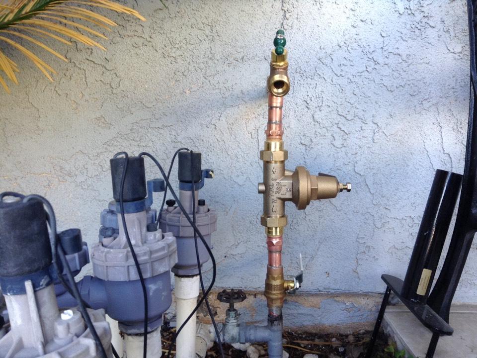 Rancho Cucamonga, CA - Misc plumbing , including new regulator, ball valve , and hose bib.