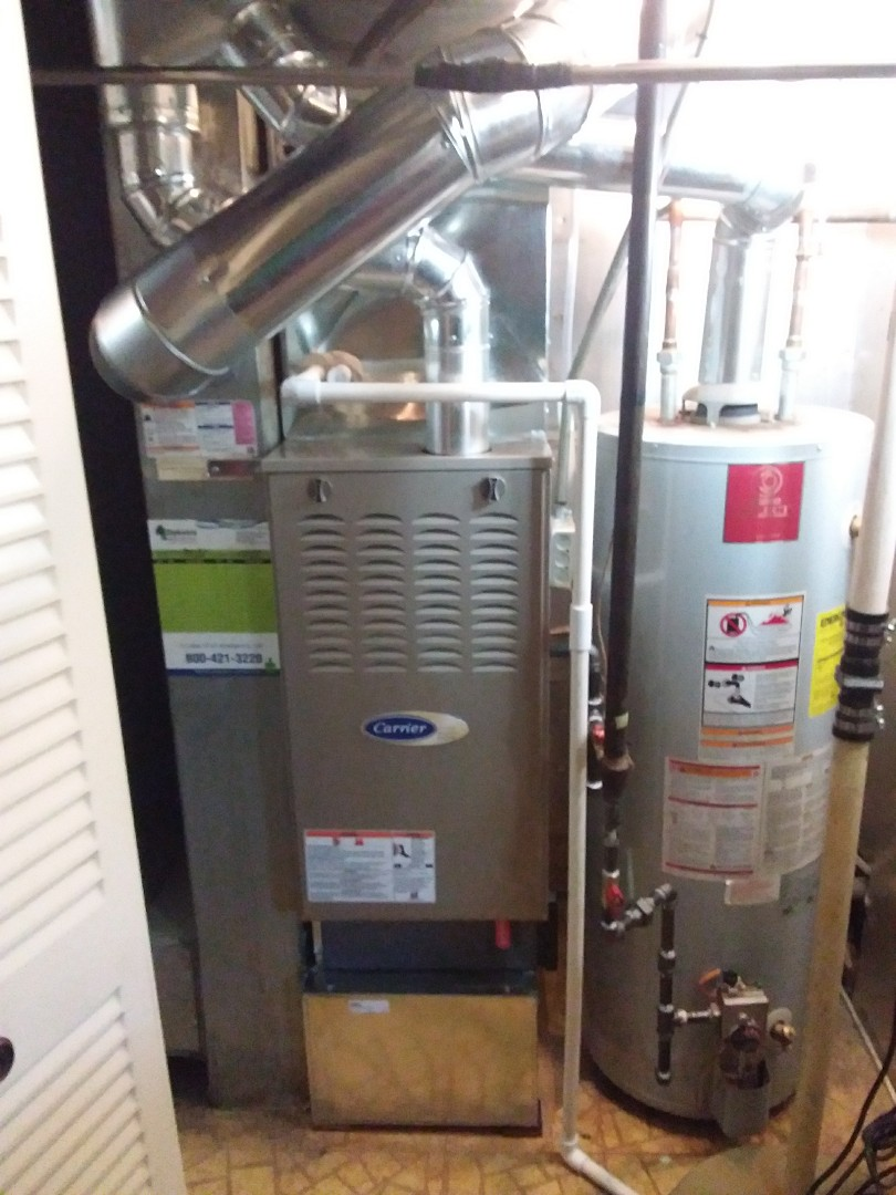 Schaumburg, IL - Installation of new carrier furnace replacing old carrier furnace