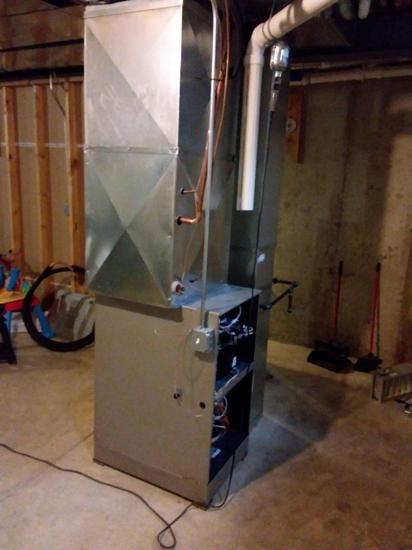New Lenox, IL - Installation of new carrier furnace replacing old American standard furnace