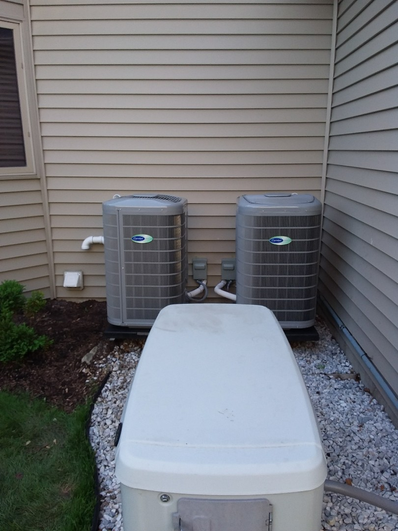 Naperville, IL - Installation of new carrier air conditioner replacing carrier air conditioner