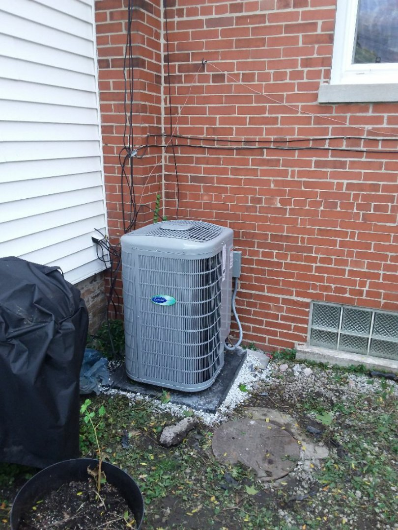 Hanover Park, IL -  installation of Carrier Infinity air conditioner and furnace