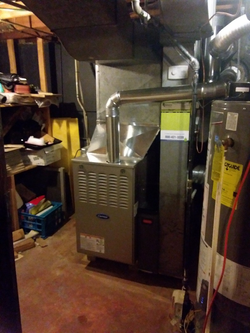 Homewood, IL - Installation of new carrier furnace replacing old Lennox furnace