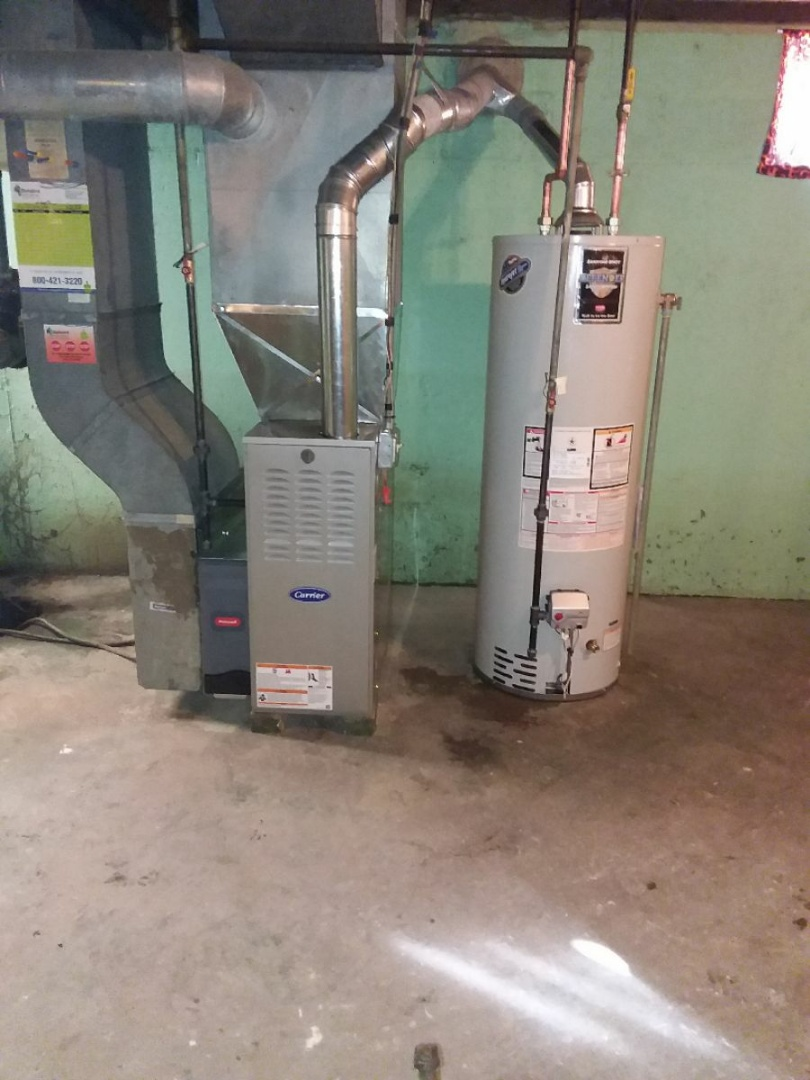 South Holland, IL - Carrier furnace and Bradford White 40 gallon water heater installation