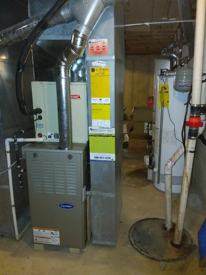 Olympia Fields, IL - Installing new carrier furnace replacing old Bryant furnace