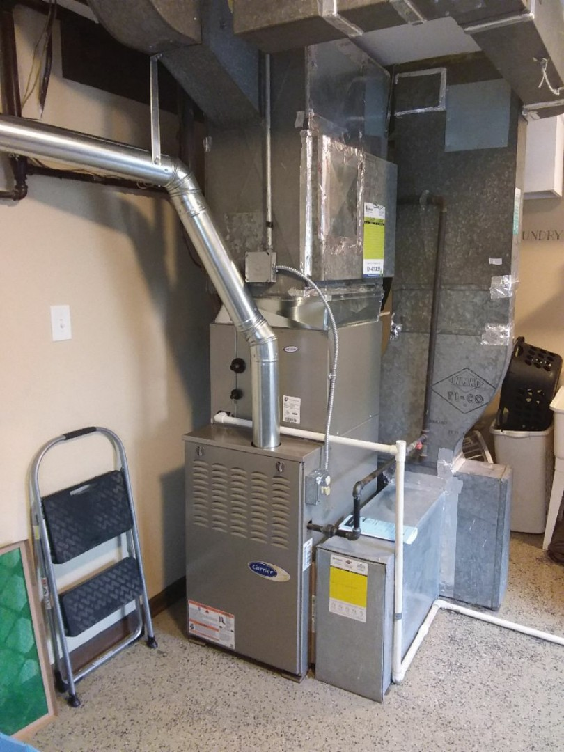 Oak Lawn, IL - Installing new carrier furnace replacing old Bryant furnace