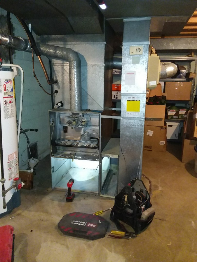 Palos Heights, IL - Installing new carrier furnace replacing old carrier furnace