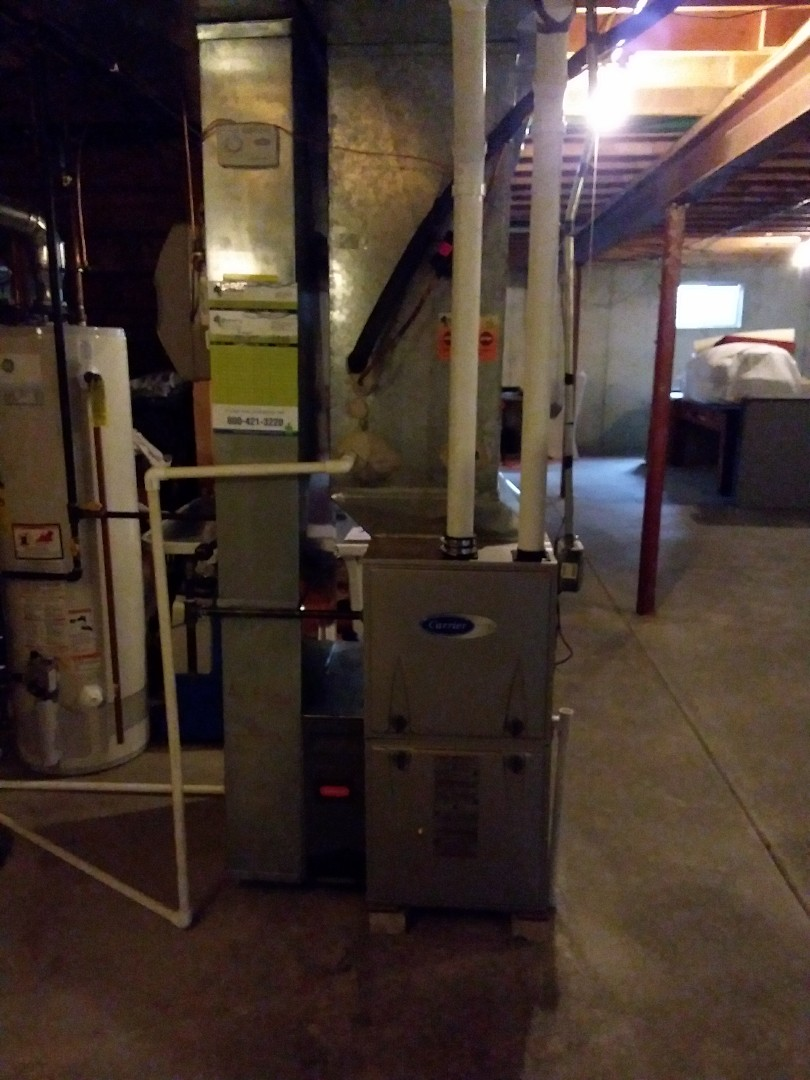 Bolingbrook, IL - Installation of new carrier furnace replacing old carrier furnace