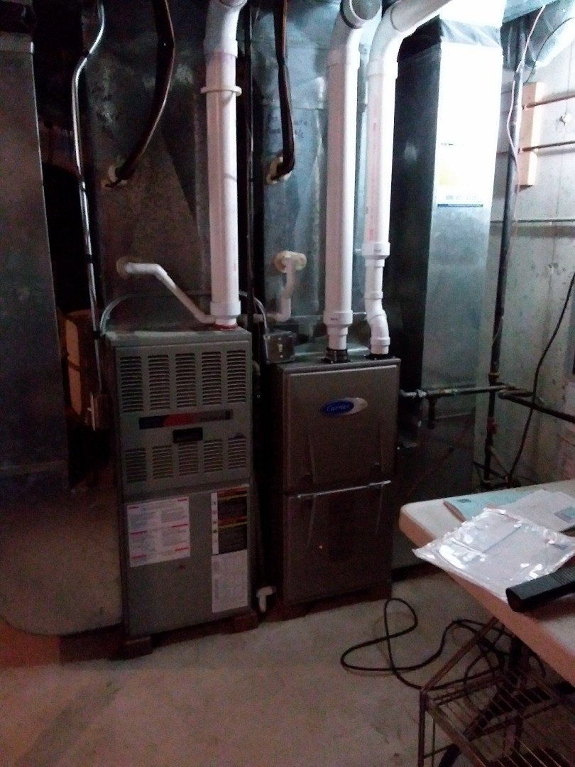 Naperville, IL - Installation of new carrier furnace replacing old American standard furnace