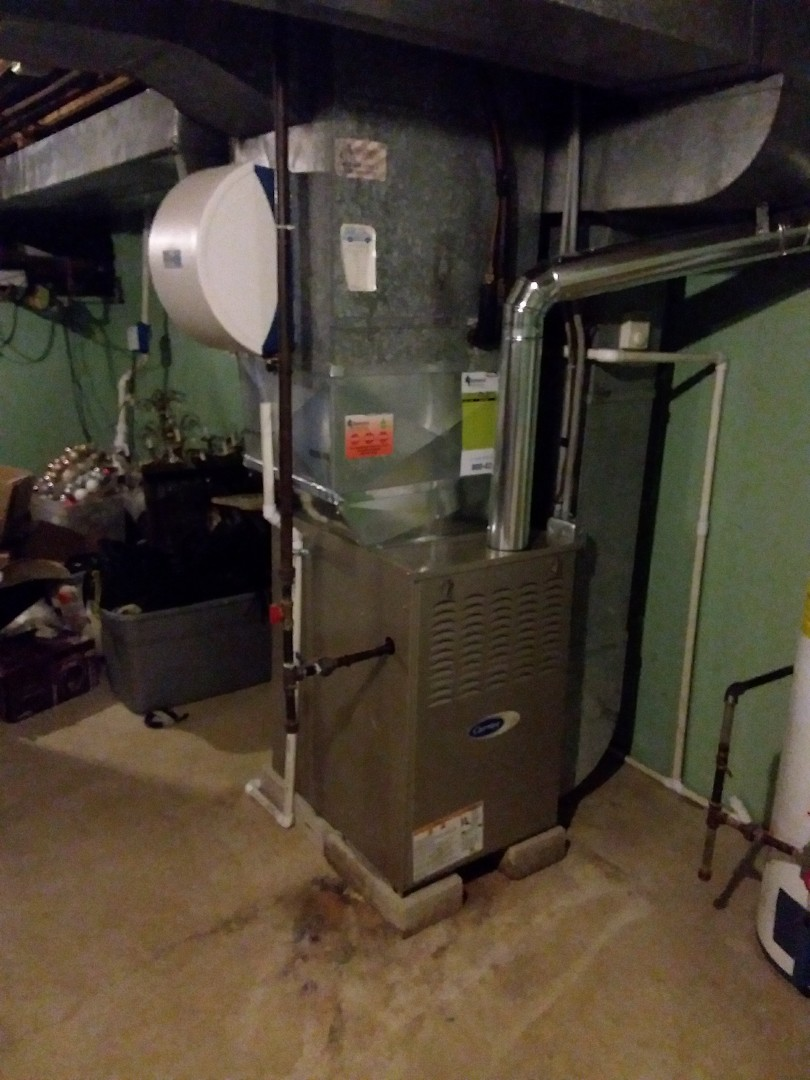 Orland Park, IL - Installation of new carrier furnace replacing old Amana furnace