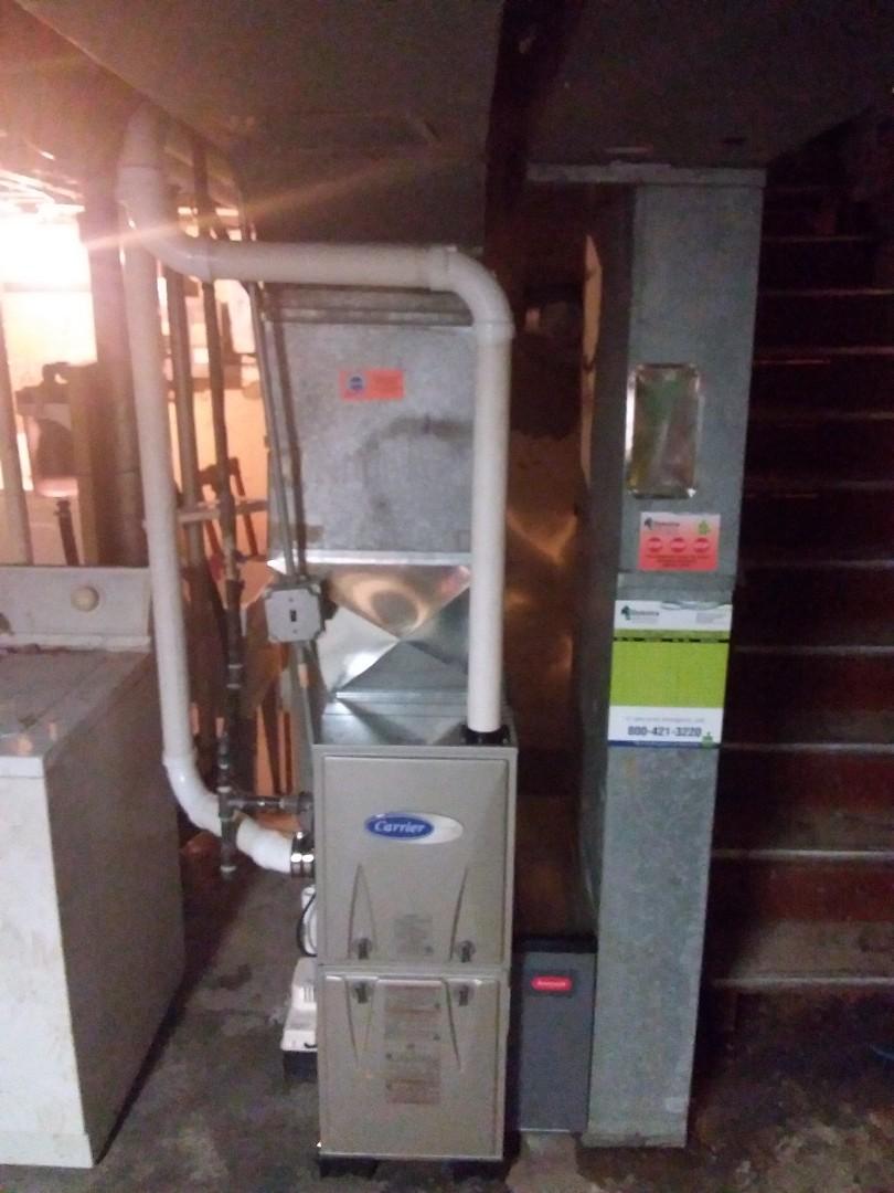 Carrier high efficiency furnace installation