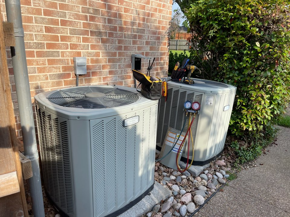 Colleyville, TX - Performed emergency air conditioning service. Replaced capacitor and changed filters on two American Standard units in Colleyville, TX