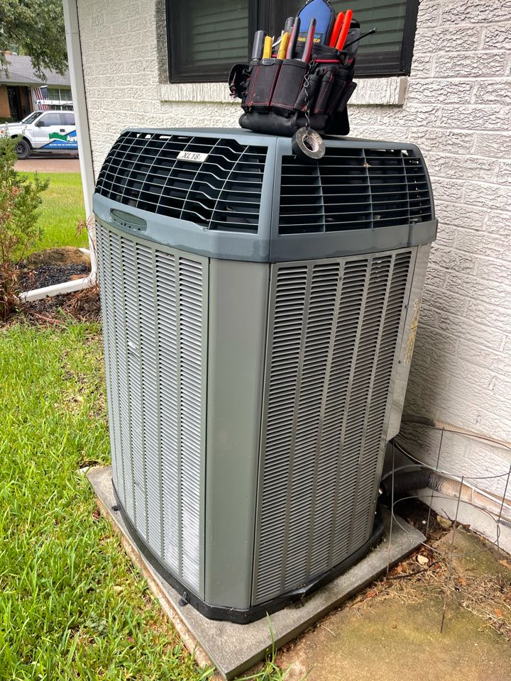 Performed summer AC check and clean in 2014 Trane 4ton heating and air conditioning system in Farmers Branch, Texas