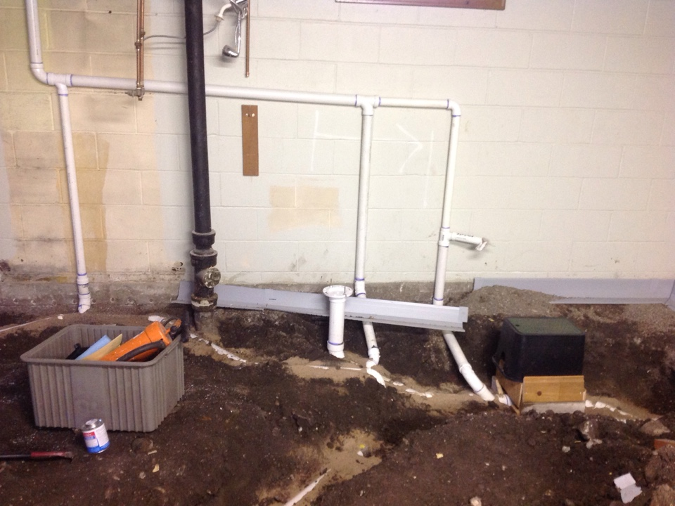 Minneapolis, MN - Installing new waste pipes for bathroom