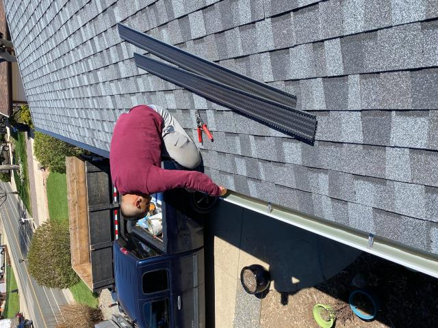 Longmont, CO - We have had a lot of people inquire about gutter screens lately.  They are wonderful - we have them on our home.  We install them if we are replacing the gutters when we install a new roof.  The brand we use are made by Gutter Rx and they work very well.  We installed a new roof, gutters, and screens on this home in Longmont.  The shingles are CertainTeed Northgate Class IV shingles in the color Max Def Pewter.