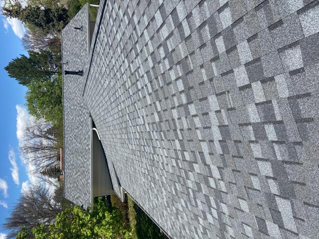 Longmont, CO - Rooftop view of a roof we just installed in Longmont.  Those gorgeous shingles are CertainTeed Northgate Class IV Impact Resistant shingles in the color Max Def Pewter.