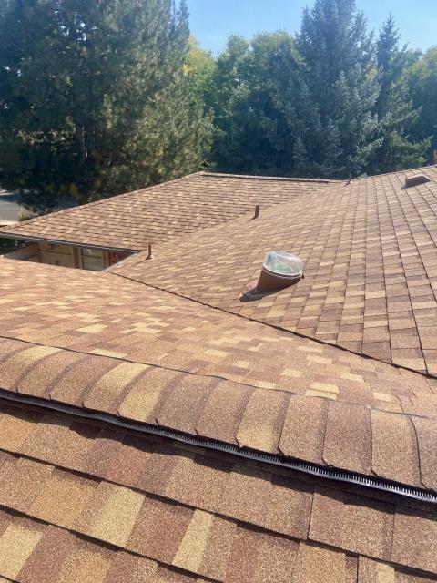 Longmont, CO - Nice roof top view of the roof that our crew just completed in Longmont.  The shingles installed are CertainTeed Northgate Class IV Impact Resistant shingles in the color Resawn Shake.