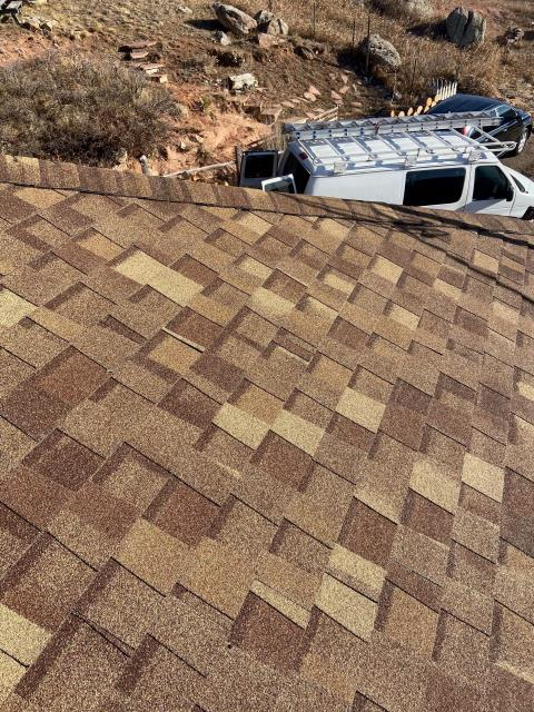 Berthoud, CO - We recently installed a roof in Berthoud up near Carter Lake.  We love working out in the more rural areas.  The shingles we installed are CertainTeed Northgate Class IV Impact Resistant shingles in the color Resawn Shake.