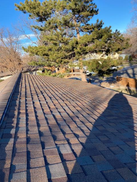 Fort Collins, CO - Good morning from a rooftop in Fort Collins!  It's a sunny cold morning on this CertainTeed Northgate Class IV Impact Resistant roof that we installed.  The shingle color is Heather Blend.