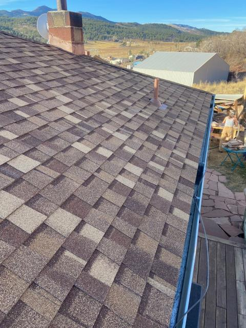 Berthoud, CO - The views were beautiful as the crew finished up this roof in Berthoud up by Carter lake.  The shingles that we installed on this roof are CertainTeed Northgate Class IV Impact Resistant shingles in the color Max Def Resawn Shake.