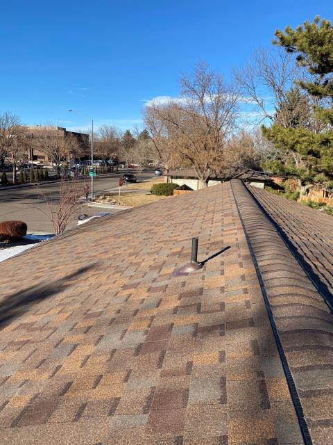 Fort Collins, CO - It's a beautiful mild winter day in Fort Collins on this roof that we just finished installing there.  We installed a CertainTeed Northgate Class IV Impact Resistant roof on this home in the color Heather Blend.