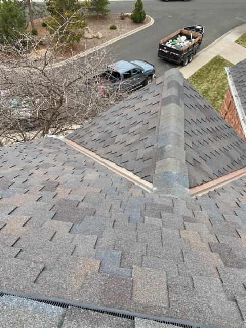 "Fort Collins, CO - Being that it is Presidents Day I thought we should share a picture of a ""Presidential"" roof.  The shingles that we installed on this roof Fort Collins are CertainTeed Presidential Shake Impact Resistant Class IV shingles and the shingle color is Shadow Gray."
