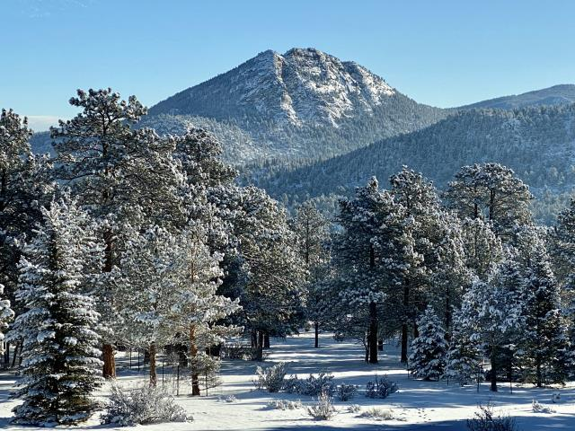 Estes Park, CO - Snow day!  With snow on the roofs it is a little difficult to install shingles, so instead, we will just enjoy this view from Estes Park.