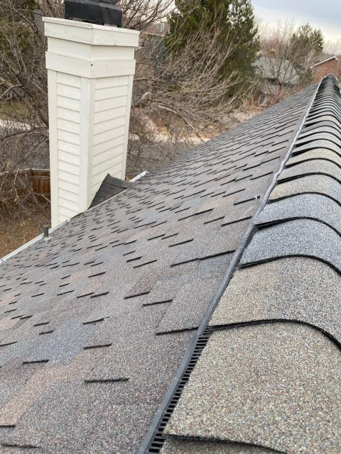 Fort Collins, CO - Are you ready for the snow?  This CertainTeed Presidential Shake Impact Resistant Class IV roof in Fort Collins is definitely ready.  The shingle color you see here is Shadow Gray.