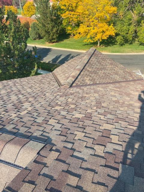 Longmont, CO - This is a designer shingle roof in Longmont - the shingles are CertainTeed Presidential Shake shingles in the color Autumn Blend.  Designer shingles are thicker and have a look that can really set your home apart.
