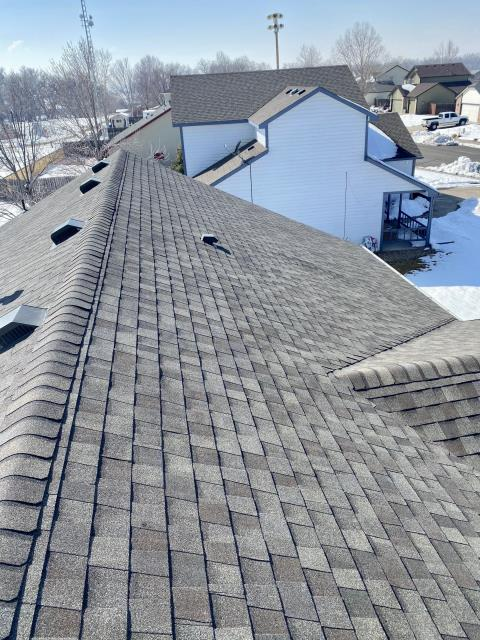 Platteville, CO - It is so nice today - it's hard to believe all the snow we had... This is a roof we did right after the snow in Platteville.  We installed CertainTeed Landmark shingles on this roof in the color Weathered Wood.