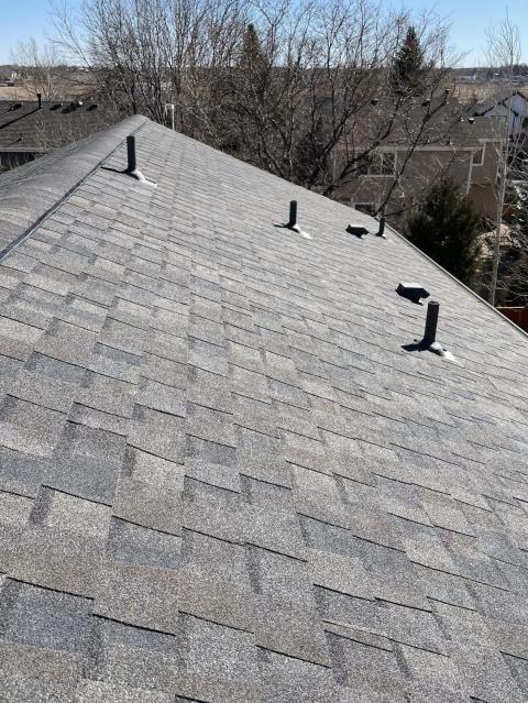 Fort Collins, CO - It is going to take a few days, but the roofs in Fort Collins will be back to looking like this will a little help from our warm Colorado sun.  This roof is a CertainTeed Northgate Class IV Impact Resistant roof in the color Driftwood.