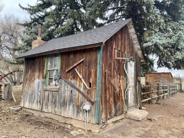 Lyons, CO - This old shed in Lyons has a new roof.  This was a fun project - we re-roofed several buildings on this old homestead site.  The shingles that we installed are CertainTeed Landmarks in the color Black Walnut.