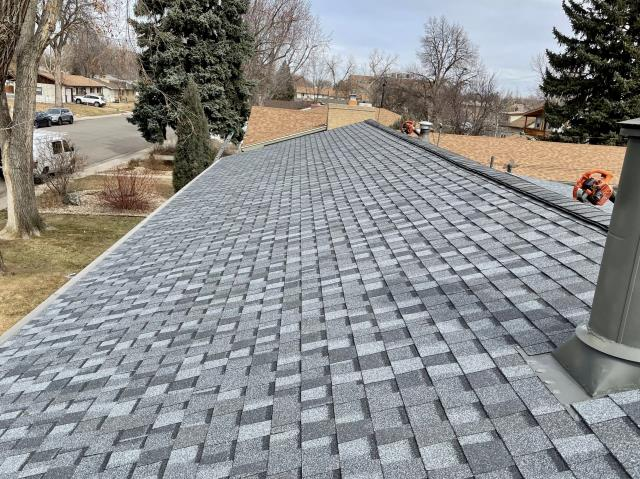 Longmont, CO - Beautiful view of a roof in Longmont to start off this long weekend.  The shingles we installed on this roof are CertainTeed Northgate Class IV Impact Resistant shingles in the color Pewter.  Have a great weekend everyone!