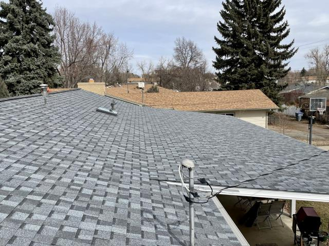 Longmont, CO - Here's a view of the back side of a roof we recently installed in Longmont.  It's a CertainTeed  Northgate Class IV Impact Resistant roof and the color is Pewter.