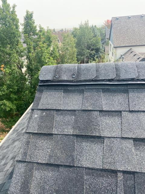 Boulder, CO - Ridge vent is a great way to keep your attic cooler on these hot summer days - like the ridge vent you see here that we installed on this roof in Boulder.