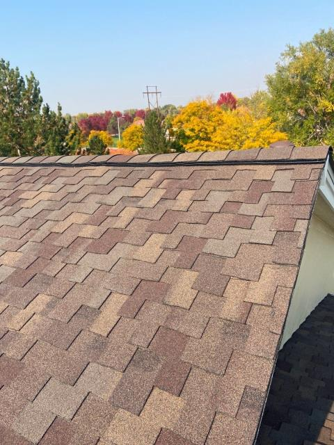Longmont, CO - Remember fall? It seems sooo long ago, which means it is coming again soon!  Is your roof ready?  This one in Longmont is.  We installed CertainTeed Presidential Shake shingles on it in the color Autumn Blend.