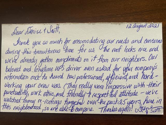 Longmont, CO - Wonderful feedback from a customer that we just installed a roof for in Niwot. Love it when we are able to help!