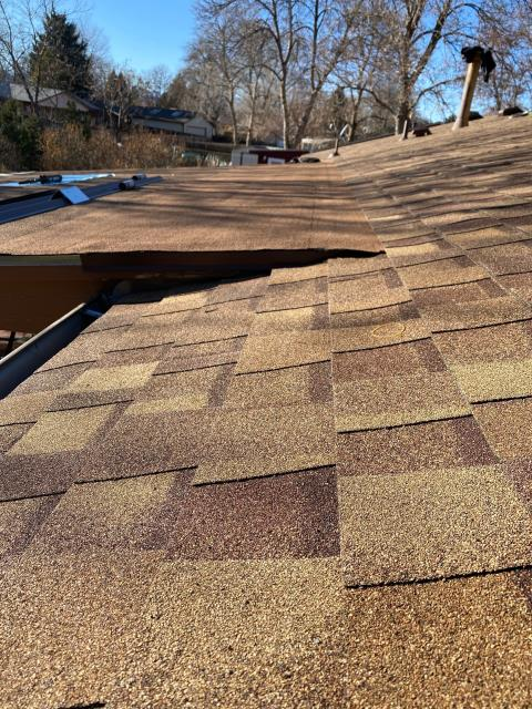 Longmont, CO - Here is a nice shot of a roof the crew was working on in Longmont.  The homeowner needed to have a new roof installed because of storm damage.  We installed a CertainTeed Northgate Class IV Impact Resistant roof in the color Resawn Shake.