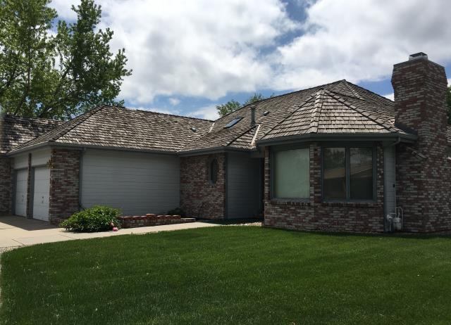 """Loveland, CO - This is a """"before"""" picture of a roof and gutters that we will be replacing next month in Loveland.  Those shakes are about 30 years old and really in need of replacement.  Can't wait to see how the new Pewter Gray GAF Timberline HD shingles are going to look on this house."""