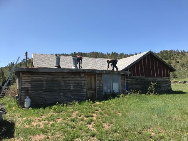 Virginia Dale, CO - Awhile back we put on a new roof at the Virginia Dale Stage Station.  We were invited back up to work on the flat roof that is on the Hurzeler House, on the property.  The Hurzeler House was built in 1909 and was built by the Hurzeler Family which ran the Virginia Dale Stage Station as a store for some time.  At some point an addition was made to the back of the house, which has a flat roof on it.  It has been leaking badly and so we re-roofed it.  It is all new and in great shape now.  We are glad to be able to play a part in the preservation of this very neat historic site.