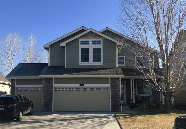Firestone, CO - We are working right around the corner from this house in Firestone today.  So many homes in the area were hit with hail.  We installed GAF Timberline HD shingles on this home in the color Mission Brown.