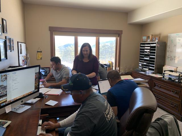 Mead, CO - Congratulations to Lupe, Valente, Gustavo, and Angel.  They are all now CertainTeed Master Select Applicators.  We had a cold day so we took advantage of the free time and got the crew in for some testing.  Then we went out for a celebratory lunch!