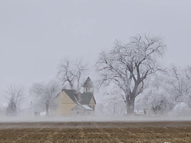 Mead, CO - This has been a rough week for roofing.  The forecast was really off on Tuesday and Thursday and there was no way we could roof with all the frost on everything.  This is a shot of the historic Highland Lake Church that I took while driving around on Tuesday.