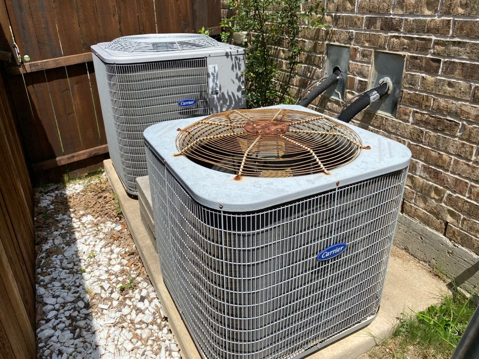 Fort Worth, TX - Homeowner in Keller called for AC repair requesting that we do a full inspection of both systems. We changed the filters, checked all electrical connections, amped out all major components, verified that the drains were functioning correctly, washed the condensers, and check the refrigerant levels. We found that both condenser capacitor's had failed, so we replace those with new ones. We also found that the upstairs air conditioner was low on refrigerant so we put 3 pounds in it. When we left all systems were operating within manufacture is recommended specifications. We left the systems cooling and operational.