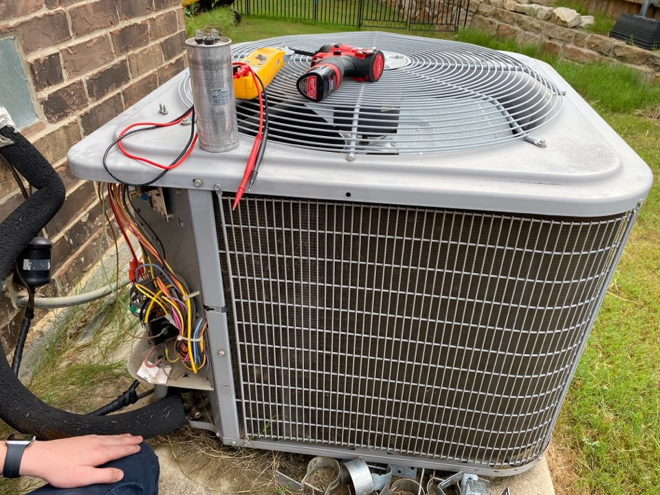 Fort Worth, TX - Customer called stating that another company came out due to a float switch cutting power to his nest thermostat. The company cleared the drains got power back to the thermostat and the system operating but then told him that the compressor was failing and he needed a new system. He asked us to come give him a second opinion. We arrived to find an eight year old carrier heat pump that was operational. Upon further investigation we found that the compressor megaohms were 1000 which is great, that the individual leads to the motor ohmed out perfectly, but that the capacitor was out of range. We completed the ac repair by replacing the capacitor and left the system cooling and operational