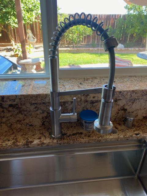Tracy, CA - Ed needed a Plumber to finish his kitchen makeover so he called us to install his new Glacier Bay stainless faucet